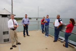 Ronald Bruggeman leading the 2014 class on a tour of Stillhouse Hollow Lake Dam.