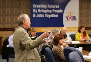 Jim Martin, Regional Planner for Economic Development, CTCOG, addressing the 2014 class.