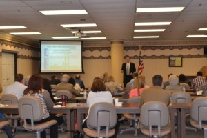 Mick Normington speaking at the Workforce Center in Killeen
