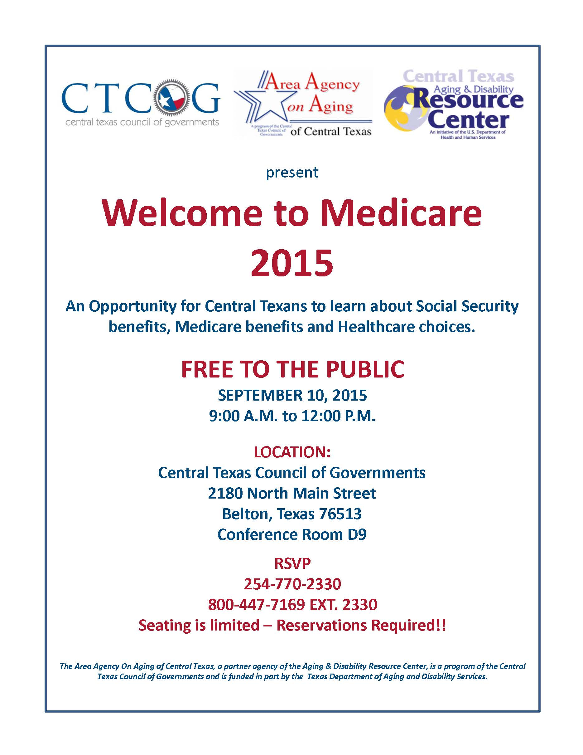 Welcome To Medicare 2015 Central Texas Council Of Governments €� Welcome To  Medicare 2015!