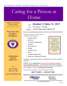 Caring for Person at Home Workshops 2015-2016