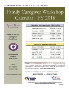 Family Caregiver Workshops 2015-2016