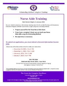 Nurse Aide Training Flyer