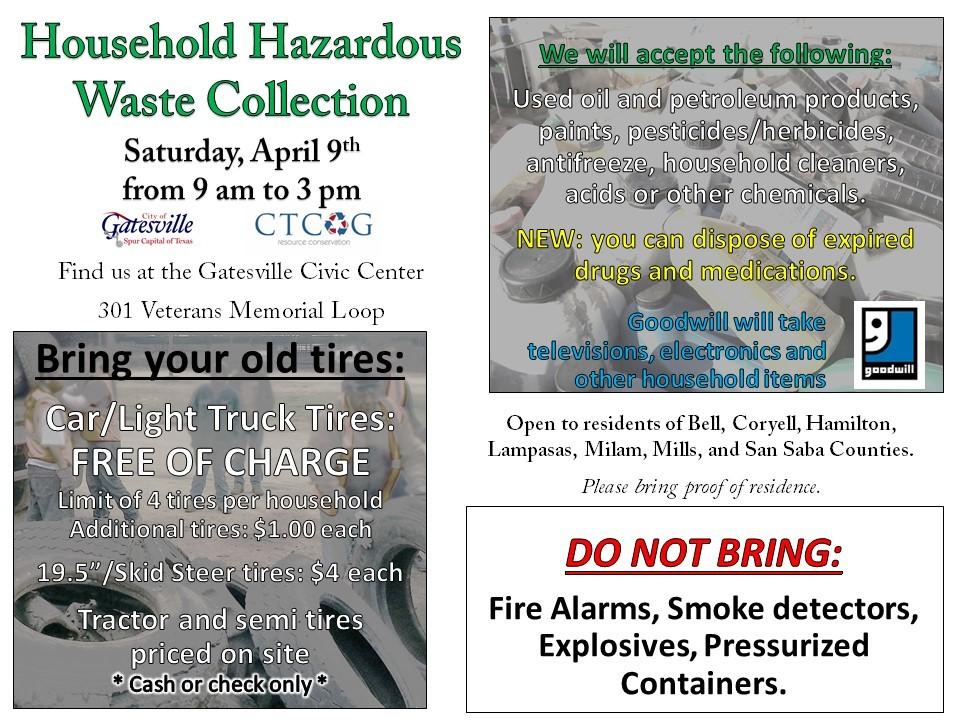 Household Hazardous Waste collection in Gatesville • Central Texas