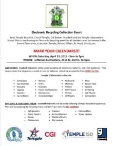 E-Recycling event April 23 2016 Jefferson Elem