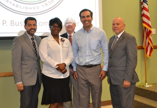 Left to Right:  Jose Segarra, Mayor of Killeen; KC Hawkins, Bell County Veterans Services Officer; Jon Burrows, Bell County Judge; George P. Bush, Texas Land Commissioner; and Juan Rivera, City of Killeen Council Member.