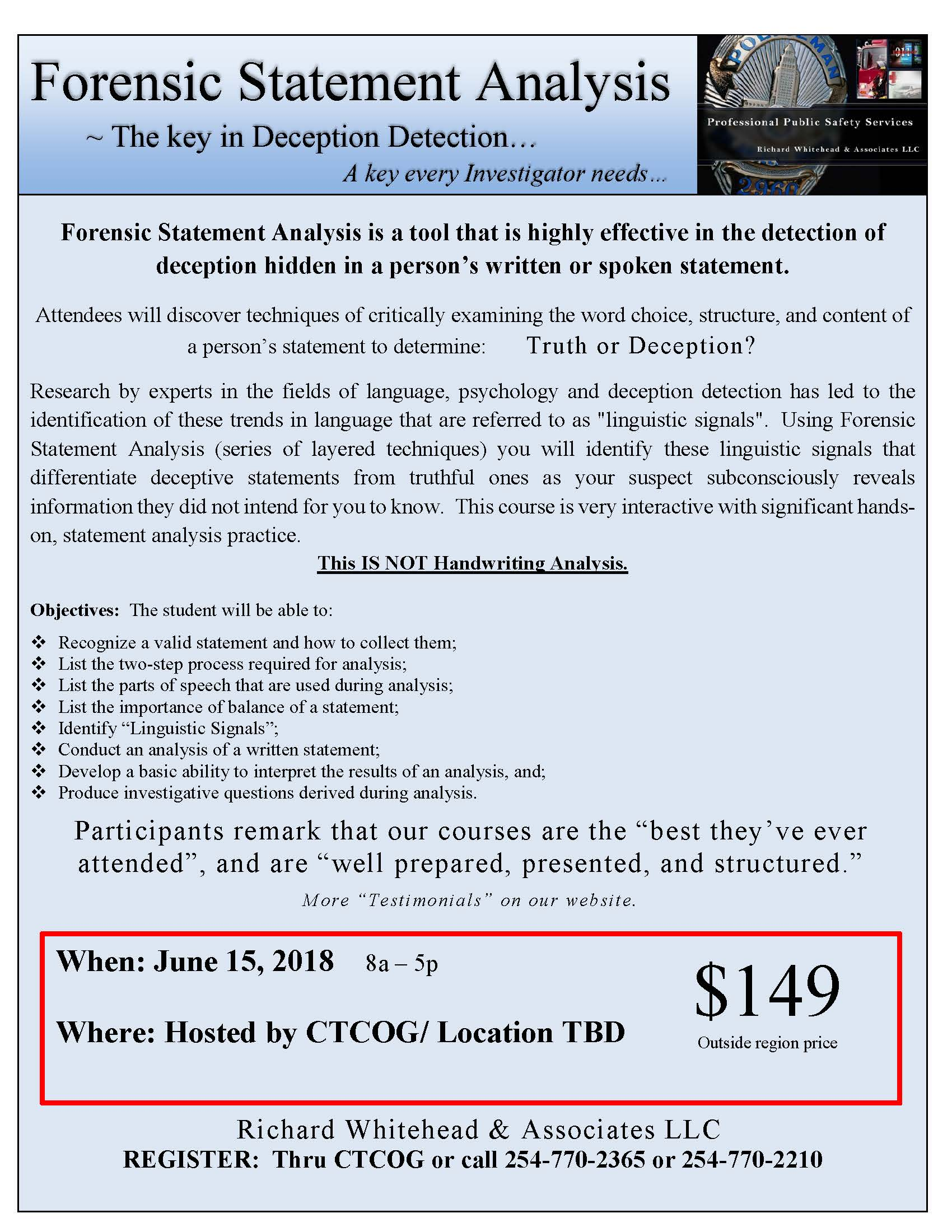 Forensic Statement Analysis TCOLE Training • Central Texas Council ...