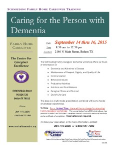 Caring for a Person with Dementia Workshops 2015-2016