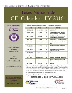 Nurse Aide Continuing Education Calendar 2015-2016